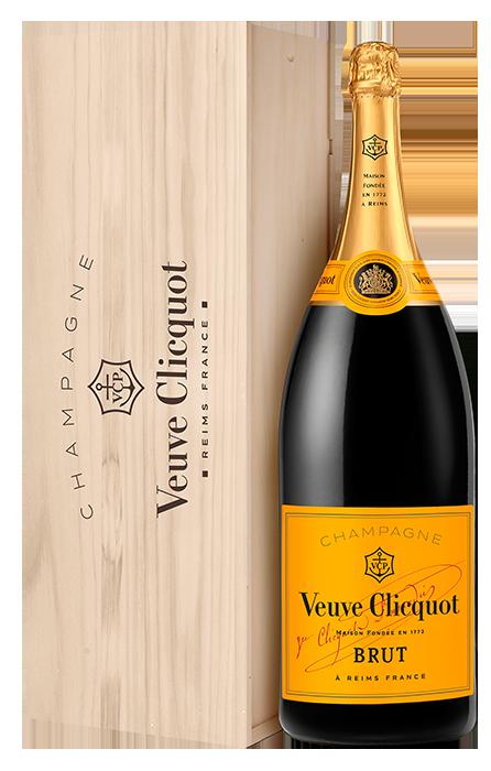 Salmanazar Veuve Clicquot Brut Carte Jaune sous caisse boie